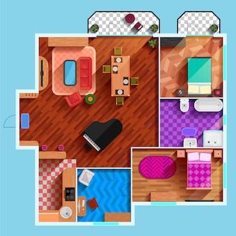 Bovenaanzicht van het interieur van typische appartement