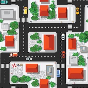 Bovenaanzicht van het naadloze stadspatroon van straten, wegen,