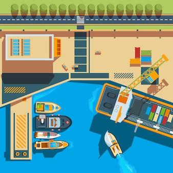 Bovenaanzicht van het schip. seaside vrachtboten werf terminal kaart boven schip illustraties