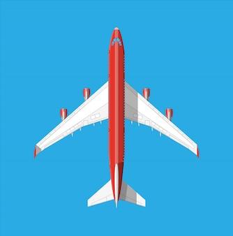 Bovenaanzicht van het vliegtuig.