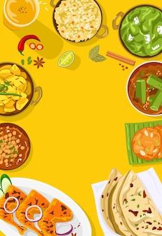 Bovenaanzicht van indiaas eten illustratie