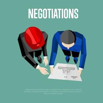 Bovenaanzicht van ingenieur bouwers op een onderhandeling