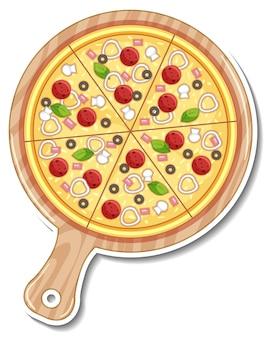 Bovenaanzicht van italiaanse pizza sticker op witte achtergrond