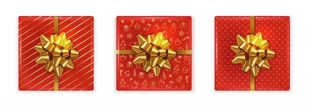 Bovenaanzicht van kerst rode geschenkdozen