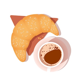 Bovenaanzicht van koffie cup en croissant