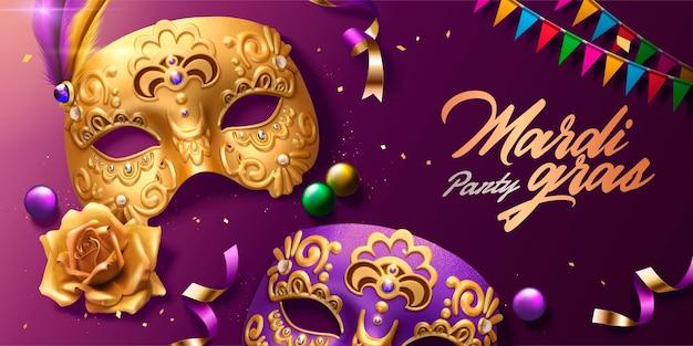 Bovenaanzicht van mardi gras carnaval ontwerp met gouden maskers en kleurrijke vlaggen in 3d illustratie