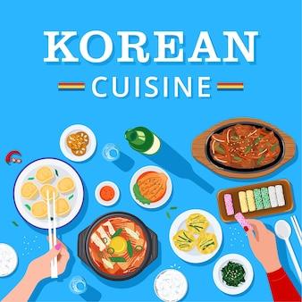 Bovenaanzicht van mensen die samen genieten van koreaans eten