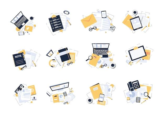 Bovenaanzicht van moderne en stijlvolle werkplek, kantoorbenodigdheden, platte ontwerp illustratie