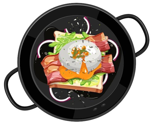 Bovenaanzicht van ontbijt dat in de geïsoleerde pan wordt geplaatst
