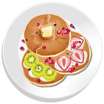 Bovenaanzicht van ontbijt dat op een geïsoleerde schotel wordt geplaatst