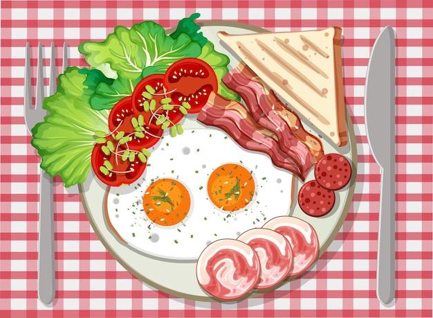 Bovenaanzicht van ontbijt in een bord