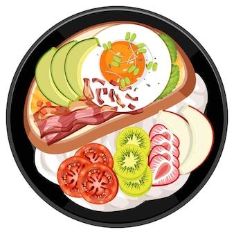 Bovenaanzicht van ontbijt in een schotel in cartoon-stijl geïsoleerd