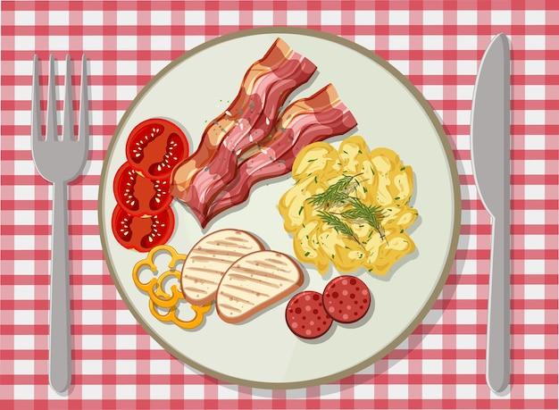 Bovenaanzicht van ontbijt in een schotel op tafel