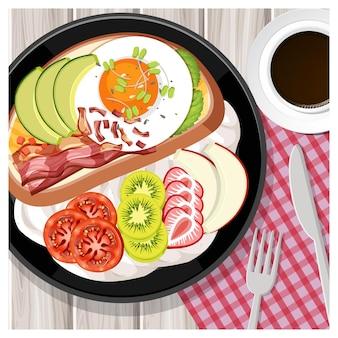 Bovenaanzicht van ontbijtmaaltijd in cartoonstijl op tafel