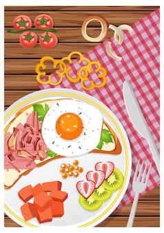Bovenaanzicht van ontbijtset in een schaal op tafel