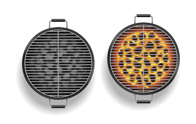 Bovenaanzicht van open barbecuegrill leeg en met vlam van brandende kolen. toestel voor het buiten koken van vlees en picknickfeest. realistische vectorillustratie
