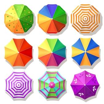 Bovenaanzicht van parasols