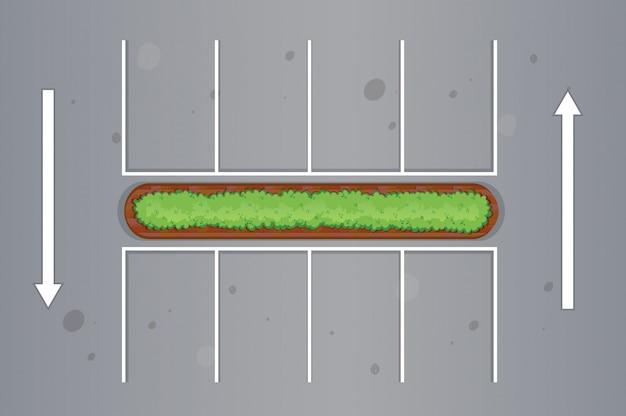 Bovenaanzicht van parkeerplaats