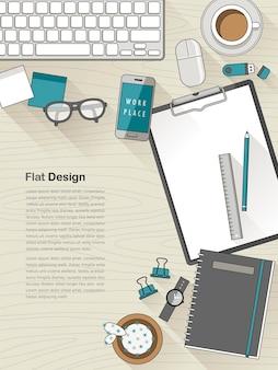 Bovenaanzicht van platte ontwerpwerkplek in dunne lijnstijl