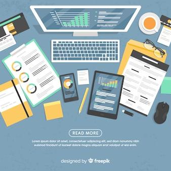 Bovenaanzicht van professionele kantoor bureau met platte ontwerp