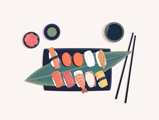 Bovenaanzicht van sashimi uit de japanse keuken