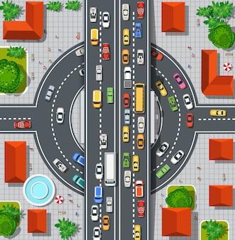 Bovenaanzicht van stadsplattegrond