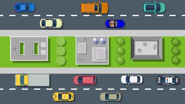 Bovenaanzicht van stadsstraat met asfalt en vervoer.