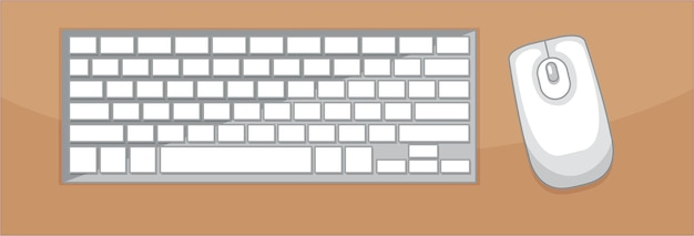 Bovenaanzicht van toetsenbord en muis op tafel