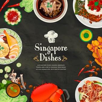 Bovenaanzicht van traditionele lekkernijen uit singapore in vlakke stijl