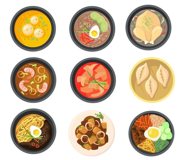 Bovenaanzicht van verschillende gerechten uit de collectie van zuid-koreaanse platte illustraties