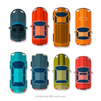 Bovenaanzicht van verschillende vlakke auto's