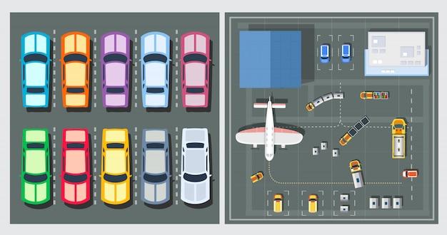 Bovenaanzicht van vliegtuigen