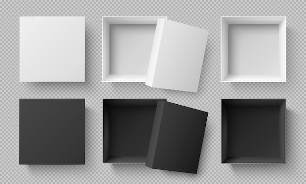 Bovenaanzicht van witte en zwarte dozen.