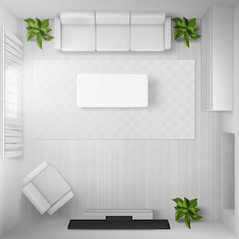Bovenaanzicht van woonkamer in huis