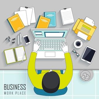 Bovenaanzicht van zakelijke werkplekconcept in lijnstijl