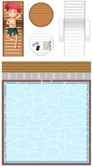 Bovenaanzicht van zwembad en een stripfiguur van een jongen