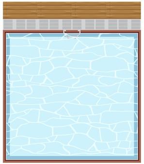 Bovenaanzicht van zwembad op witte achtergrond