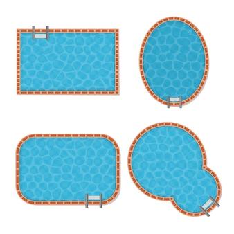 Bovenaanzicht van zwembadset met transparant blauw water verschillende vormen van recreatie.
