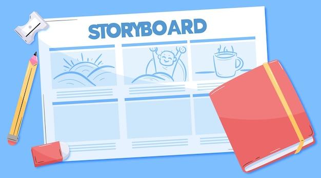 Bovenaanzicht verschillende storyboard en boek