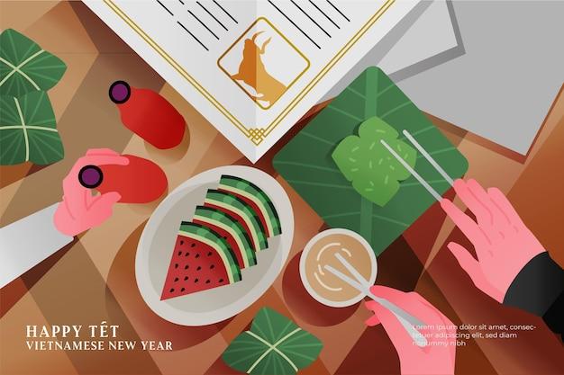 Bovenaanzicht vietnamese nieuwjaarsmaaltijd