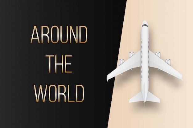 Bovenaanzicht vliegtuig. reis vakantie vliegtuig.