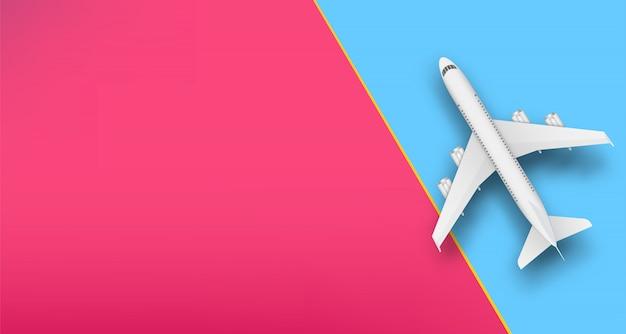 Bovenaanzicht vliegtuig, reizen vakantie vliegtuig.