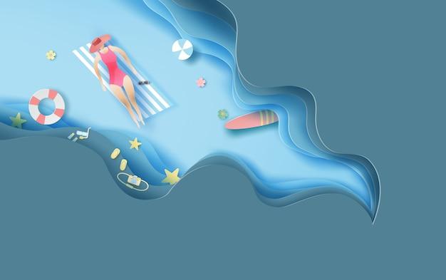 Bovenaanzicht vrouwen in zomer strand