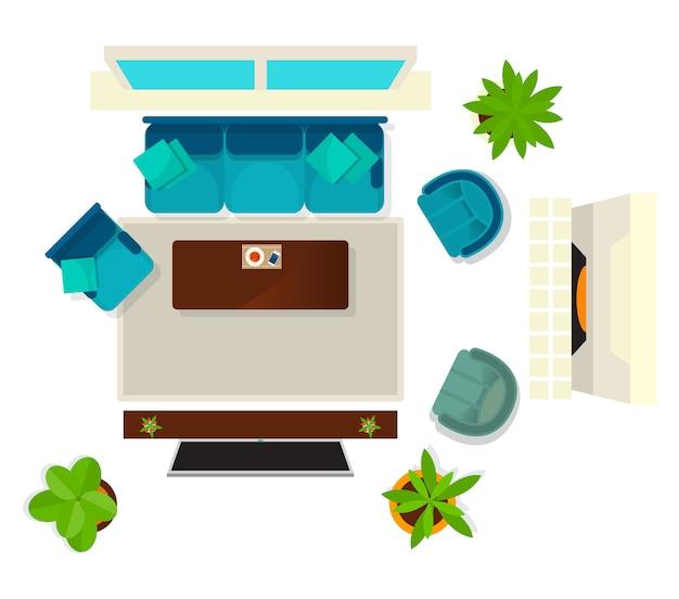 Bovenaanzicht woonkamer interieur element