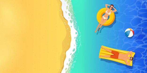 Bovenaanzicht zomer tropische illustratie