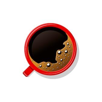 Bovenaanzicht zwarte koffie in rode kop geïsoleerd op wit