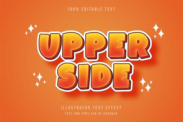 Bovenkant 3d bewerkbaar teksteffect gele gradatie oranje moderne komische stijl