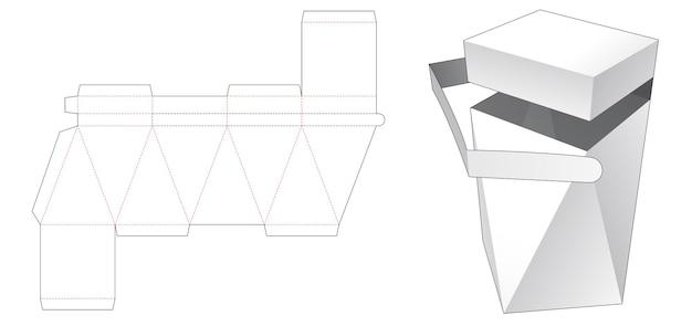 Bovenkant flip prisma verpakking gestanst sjabloon met ritssluiting