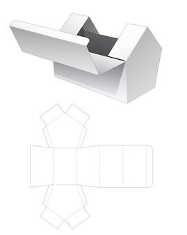 Bovenste flip huisvormige doos gestanst sjabloon Premium Vector