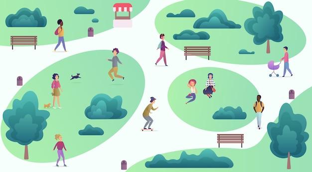 Bovenste kaartweergave van verschillende mensen in het park die wandelen en sportieve vrijetijdsactiviteiten uitvoeren. stadspark